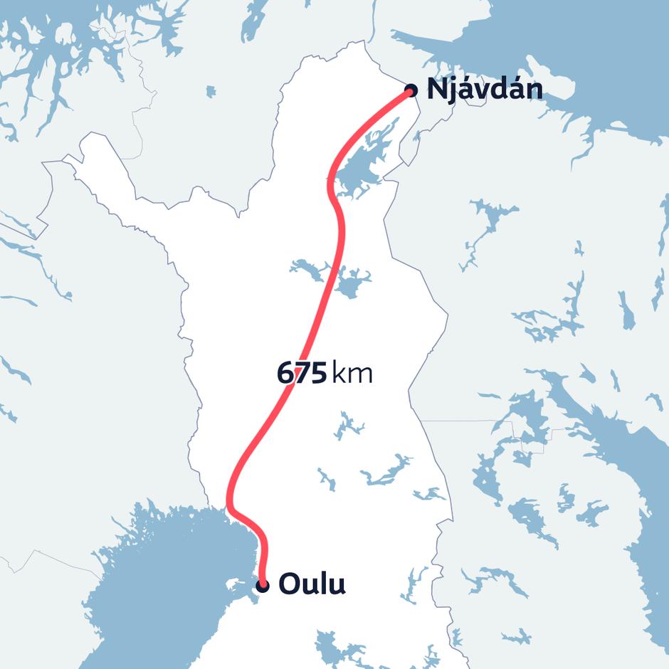Roskapussin matka Näätämöstä Ouluun kartalla