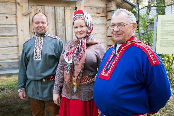 Kolttien luottamusmiesehdokkaat 2014: Veikko Feodoroff (vas.), Tanja Sanila ja Sergei KP Fofonoff.