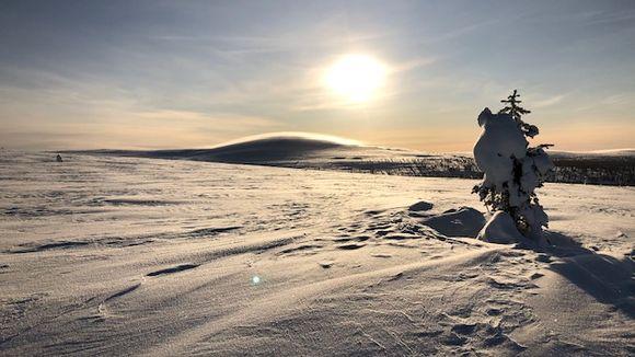 Aurinko paistaa, paljon lunta tunturissa
