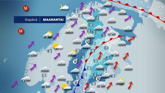 Sääkartta Suomen säästä maanantaina 21.12.2020