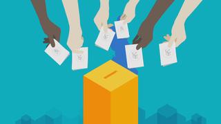 Piirros, jossa kädet pitävät äänestyslippuja.