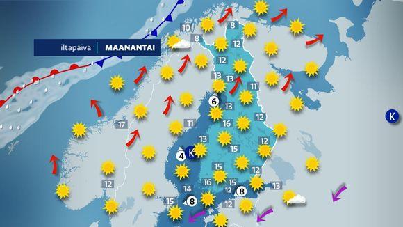 Maanantain sääkartta-