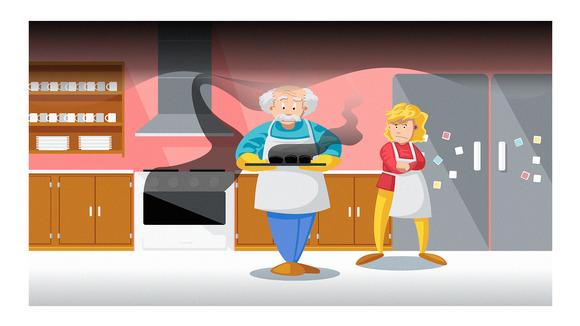 Piirroshamot vanha mies ja nuori nainen leipomassa.
