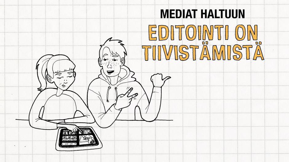 Video: Piirretyssä kuvassa kaksi henkilö editoi tabletilla.