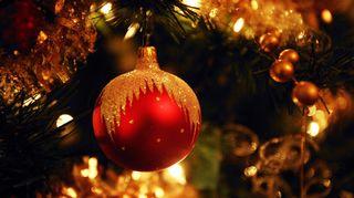Joulupallo kuusen oksalla.