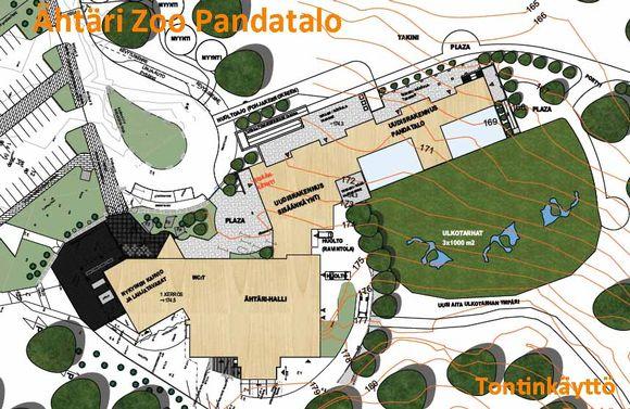 Suunnitelma Pandatalon sijoittumisesta Ähtärin eläinpuiston eli Ähtäri Zoon alueelle.