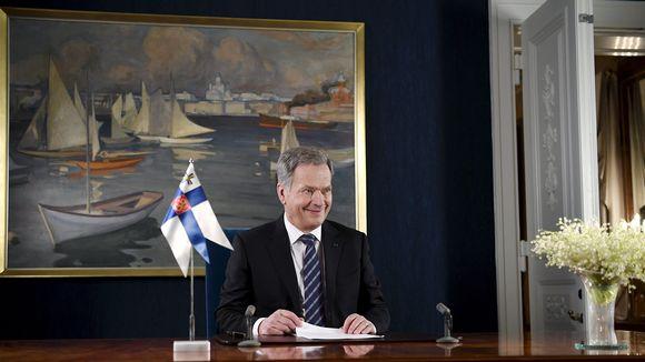 Tasavallan presidentti Sauli Niinistö perinteisen uudenvuoden puheensa nauhoituksessa.