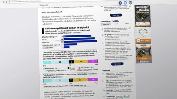 Kuvakaappaus Helsingin Sanomien nettisivusta.