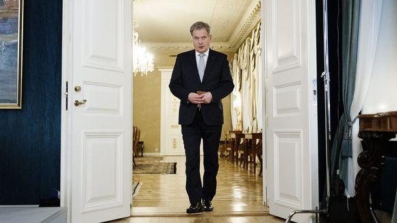 Tasavallan presidentti Sauli Niinistö uudenvuodenpuheen nauhoitusta.
