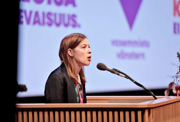 Puheenjohtaja Li Andersson puhui Vasemmistoliiton puoluekokouksessa Kuopion musiikkikeskuksessa 15. marraskuuta 2019.