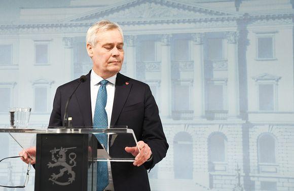 Pääministeri Antti Rinne (SDP) tiedotustilaisuudessa valtioneuvoston linnassa Helsingissä 29. marraskuuta.