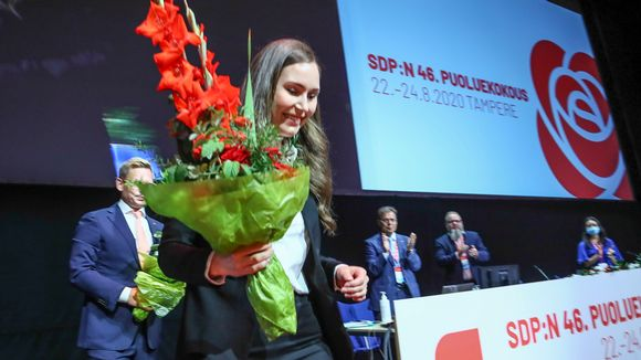 Pääministeri ja puolueen puheenjohtajaksi valittu Sanna Marin Suomen Sosialidemokraattisen Puolueen 46. puoluekokouksessa Tampereella sunnuntaina 23. elokuuta 2020