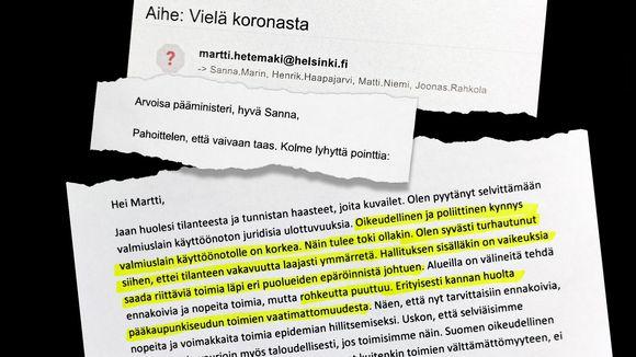 Revinnäisiä Martti Hetemäen ja Sanna Marinin välisistä sähköpostiviesteistä.