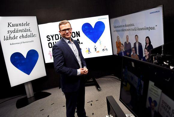 Kokoomuksen puheenjohtaja Petteri Orpo puolueen kuntavaalikampanjan avauksessa.