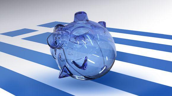 Säästöpossu ja Kreikan lippu