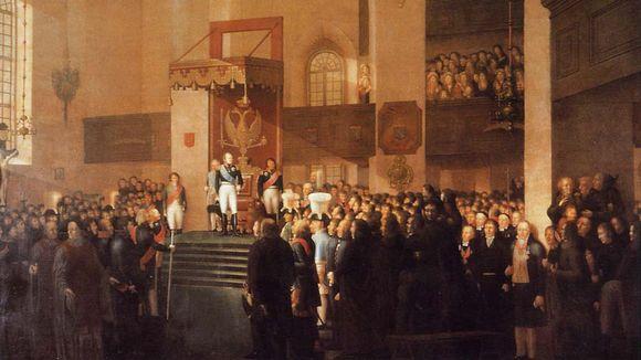 Emanuel Thelningin maalaus Porvoon valtiopäivien avajaisista 1809.