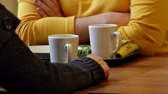 Two women on their coffee break