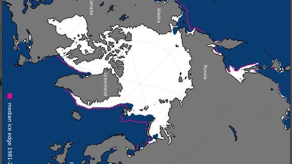 Pohjoisen napajään alue kartalla joulukuussa 2017