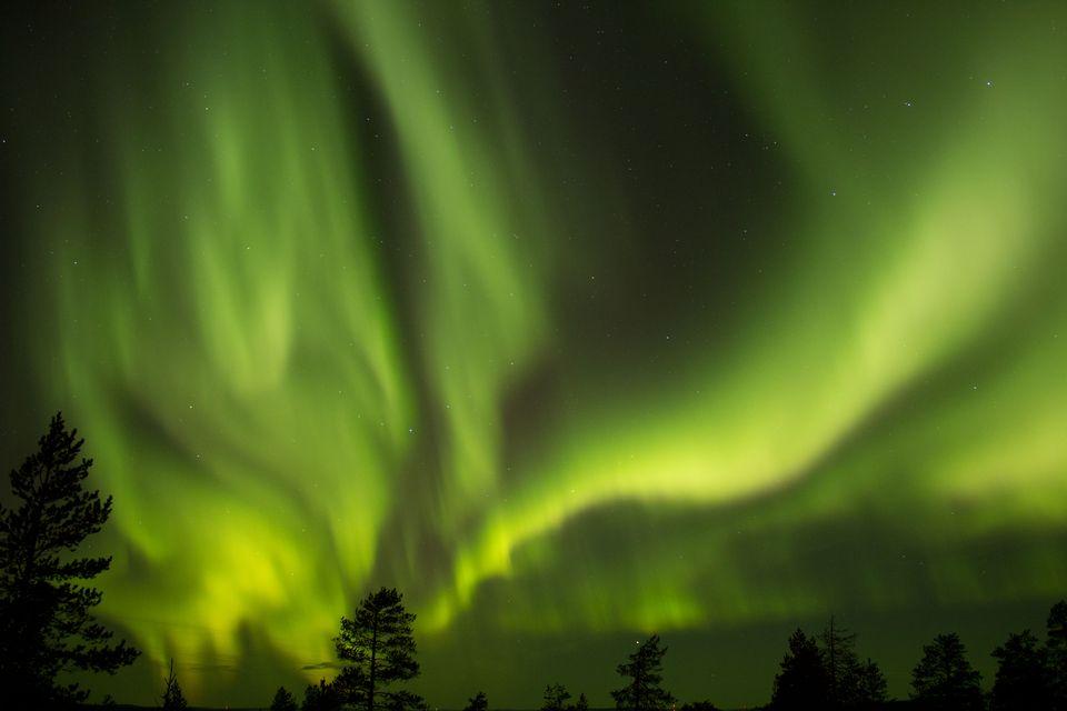 Aurora borealis set autumn skies ablaze