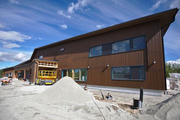 Kilpisjärven koulun rakennustyömaa heinäkuussa 2017.