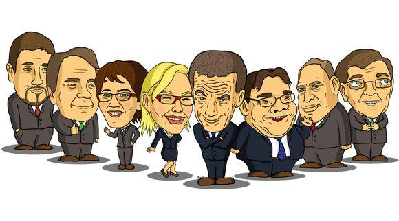 Karikatyyrit presidenttiehdokkaista.