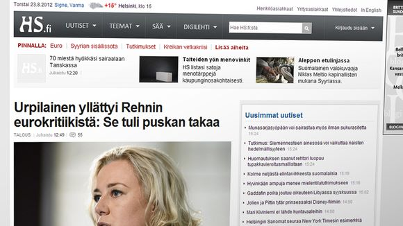 Hs.fi-verkkosivuston etusivu.