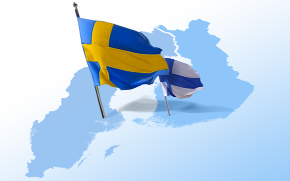 Ruotsin lippu ja Suomen lippu