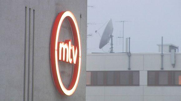 MTV:n logo rakennuksen seinällä.
