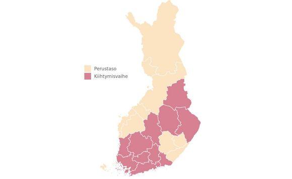 Kartta, johon on merkitty perustason ja kiihtymisvaiheen alueet. Perustasolla ovat Etelä-Karjalan, Etelä-Pohjanmaan, Etelä-Savon, Itä-Savon, Keski-Pohjanmaan, Lapin, LänsiPohjan, Pohjois-Pohjanmaan ja Vaasan sairaanhoitopiirit sekä Ahvenanmaan maakunta.