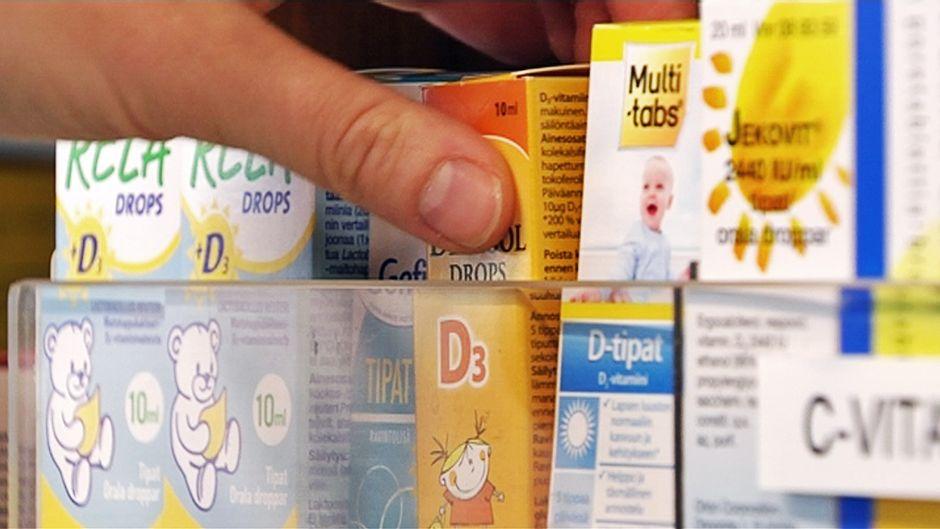 D-vitamiinia apteekin hyllyssä.