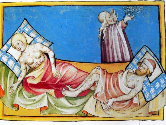 Vanha kuvitus Toggenburgin raamatusta, ruttoa sairastavia