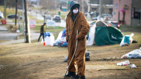 Kodittomien leiri Bloomingtonin kaupungissa.