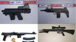 Tutkinnan aikana takavarikoituja aseita.