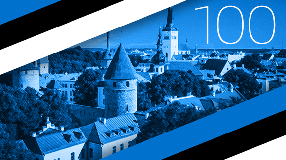 Kuvakollaasi Viron lipusta ja Tallinnan siluetista.