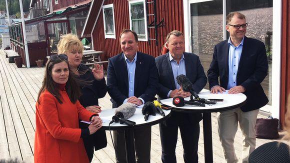 Pohjoismaiden pääministerit kokouksessa Ruotsin Höga Kustenilla.