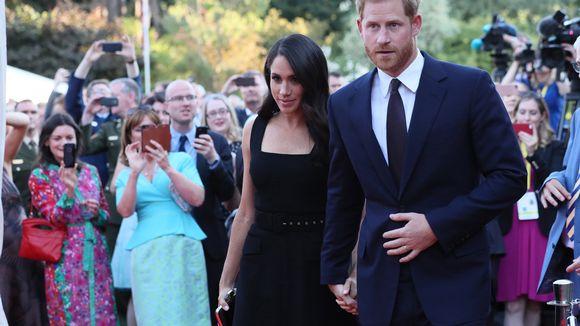 Prinssi Harry ja Meghan Britannian suurlähetystön puutarhassa Dublinissa.