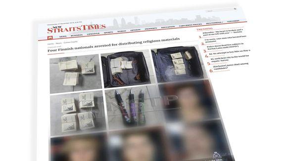 The New Straits Times-lehden uutinen aiheesta.