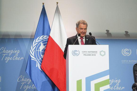 Presidentti Niinistö pitää Suomen kansallista puheenvuoroa YK:n ilmastokokouksessa Katowicessa Puolassa 3. joulukuuta