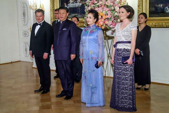 Suomen ja Kiinan presidentit puolisoineen tapasivat Helsingissä huhtikuussa 2017.