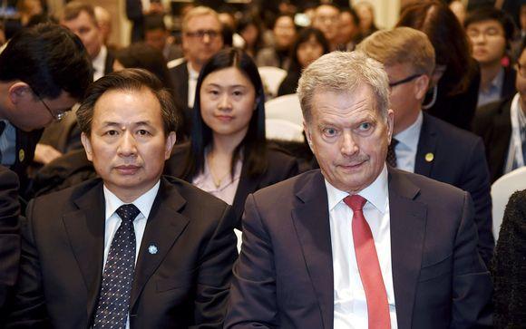 Presidentti Sauli Niinistö osallistui ilmastoseminaariin yhdessä Kiinan ympäristöministeri Li Ganjien kanssa Pekingissä maanantaina 14. tammikuuta