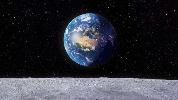 Maapallo kuun pinnalta katsottuna.