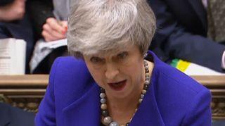 Britannian pääministeri Theresa May pääministerin kyselytunnilla keskiviikkona.