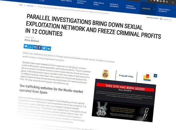 Video: Kuvakaappaus Europolin nettisivusta.