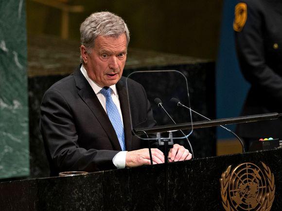 Sauli Niinistö puhumassa Yhdistyneiden kansakuntien 74. yleiskokouksessa 24. syyskuuta.