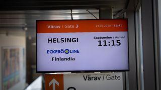 Päivän ensimmäinen Helsingistä Tallinnaan saapunut matkustajalautta oli Eckerö Line.