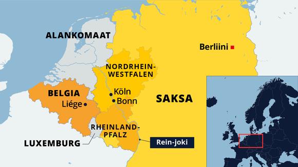 Kartalla Saksan ja Belgian alueita joissa tulvii rankkasateiden vuoksi.