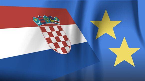 Kroatian lippu ja kaksi EU-tähteä