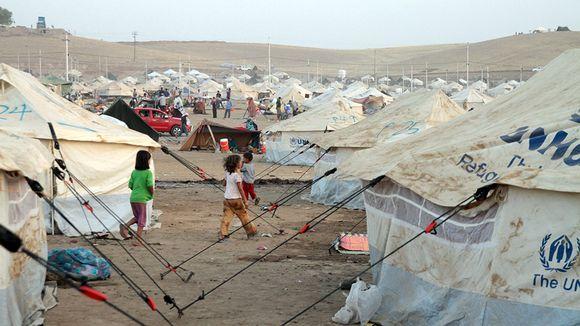 Syyrialaispakolaisia Kawergostin leirissä Pohjois-Irakissa.