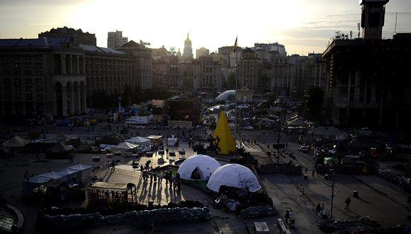 Näkymä Kiovan Itsenäisyydenaukiolle perjantai-iltana 23. toukokuuta.