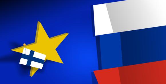 Suomen, EU:n ja Venäjän lippu